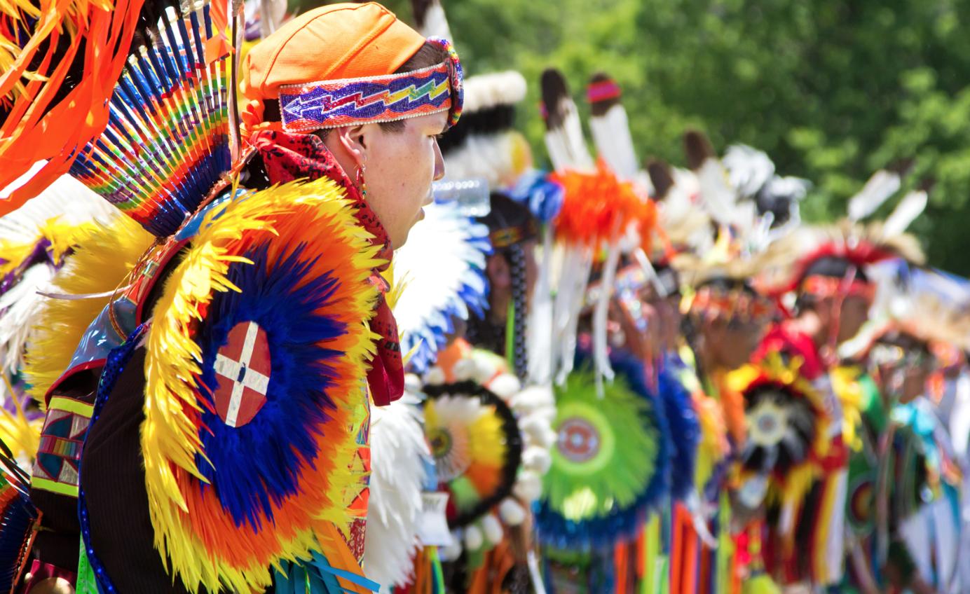Aboriginal people in their native warrior gear